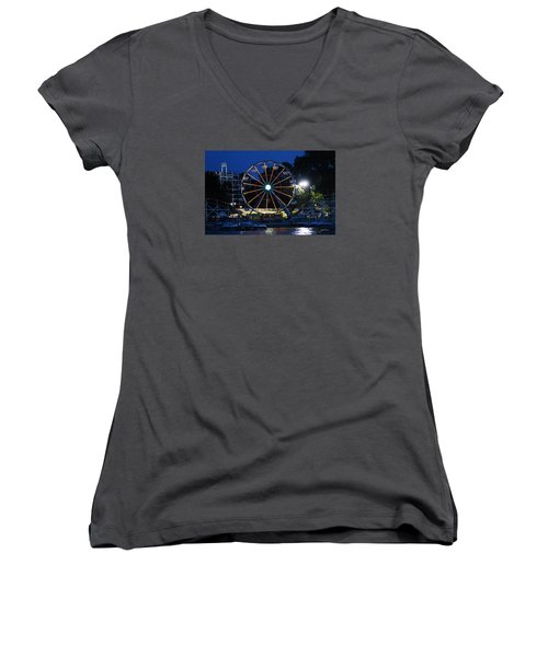Arnolds Park At Night Women's V-Neck (Athletic Fit)
