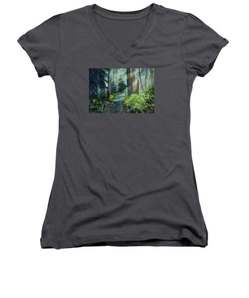 Women's V-Neck T-Shirt (Junior Cut) featuring the painting Around The Path by Kerri Ligatich