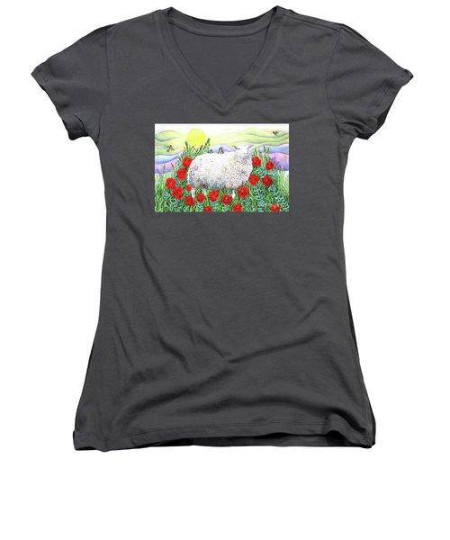 Arrival Of The Hummingbirds Women's V-Neck T-Shirt (Junior Cut) by Lise Winne