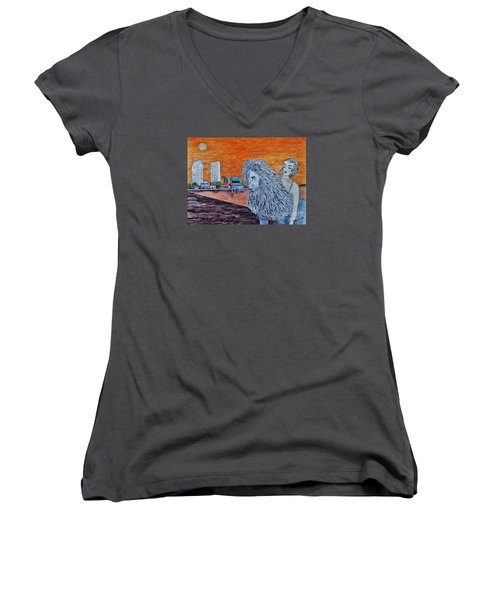 Women's V-Neck T-Shirt (Junior Cut) featuring the painting Arrival To San Diego by Jasna Gopic