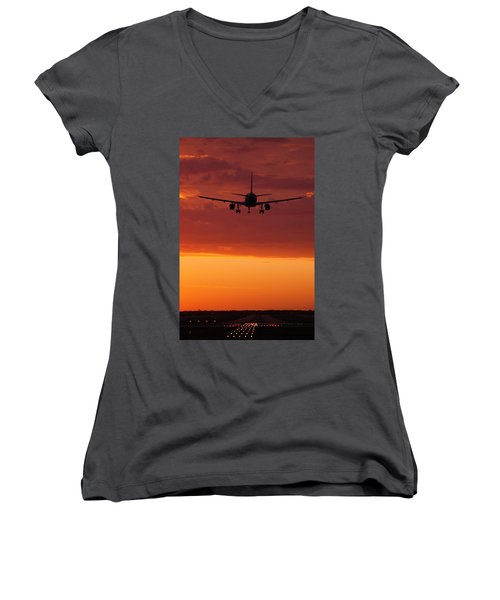 Arriving At Day's End Women's V-Neck T-Shirt (Junior Cut) by Andrew Soundarajan