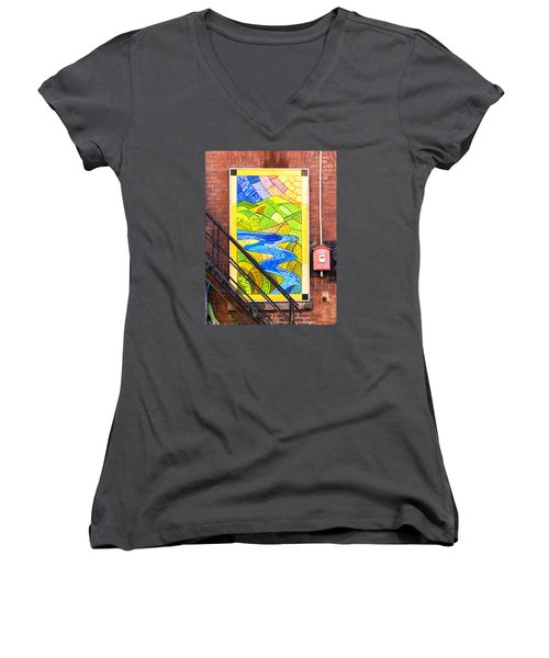Women's V-Neck T-Shirt (Junior Cut) featuring the photograph Art And The Fire Escape by Tom Singleton