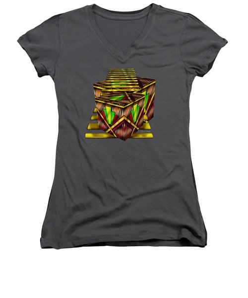 Art Deco Cubes 2 - Transparent Women's V-Neck (Athletic Fit)
