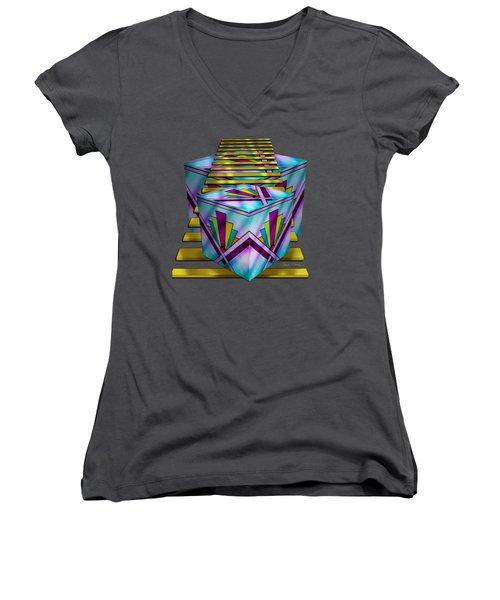 Art Deco Cubes 1 - Transparent Women's V-Neck (Athletic Fit)