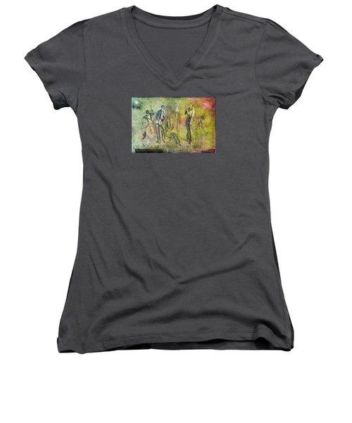 Art Deco Dancing Women's V-Neck T-Shirt (Junior Cut) by Bellesouth Studio