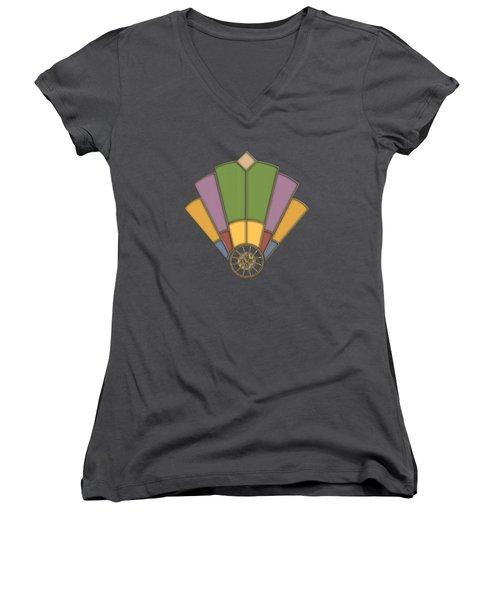 Art Deco Fan 2 Transparent Women's V-Neck T-Shirt