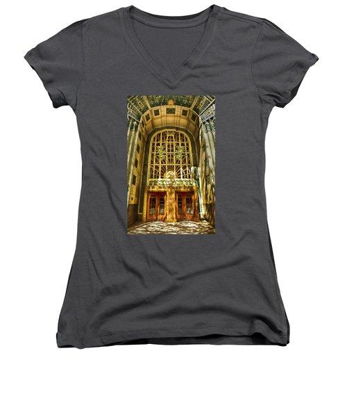 Art Deco Marine Building Women's V-Neck (Athletic Fit)