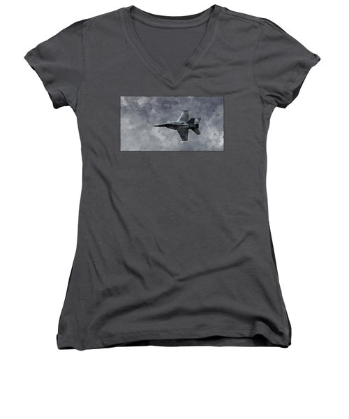 Women's V-Neck T-Shirt featuring the photograph Art In Flight F-18 Fighter by Aaron Lee Berg