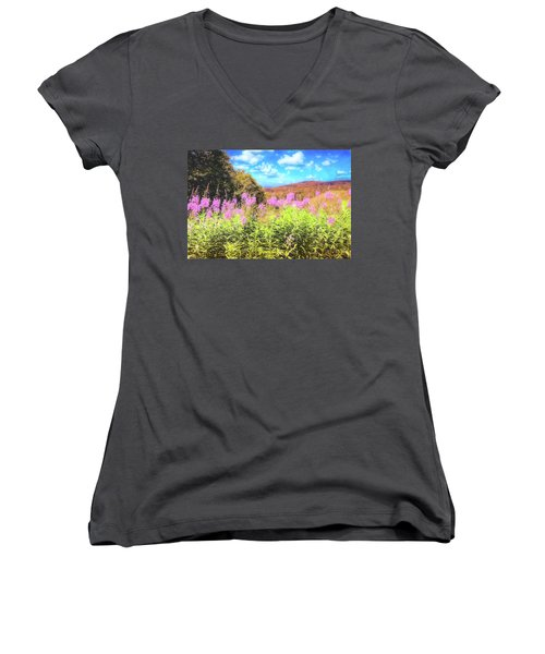 Art Photo Of Vermont Rolling Hills With Pink Flowers In The Foreground Women's V-Neck