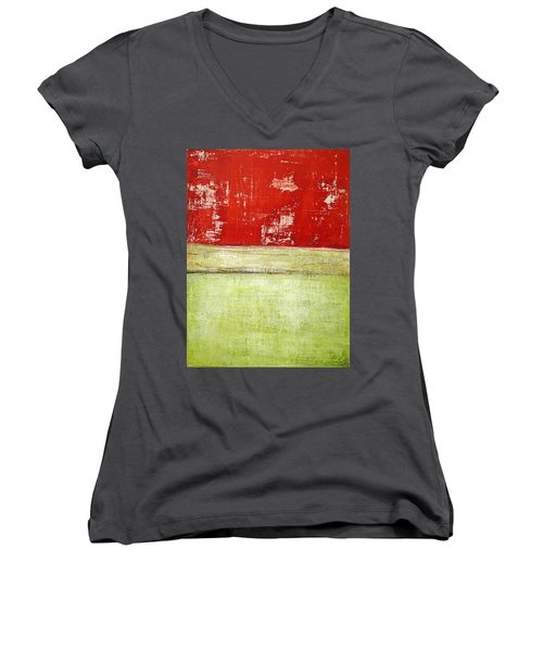 Art Print Rotgelb Women's V-Neck (Athletic Fit)