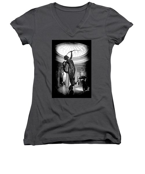 Women's V-Neck T-Shirt (Junior Cut) featuring the photograph Artemis At Huntington Library by Lori Seaman