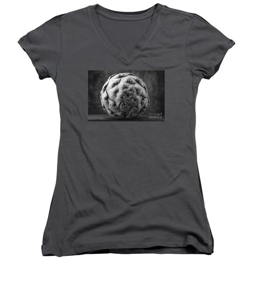 Artichoke Black And White Still Life Two Women's V-Neck T-Shirt (Junior Cut) by Edward Fielding