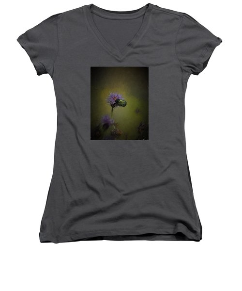 Women's V-Neck T-Shirt (Junior Cut) featuring the photograph Artistic Two Beetles On A Thistle Flower by Leif Sohlman