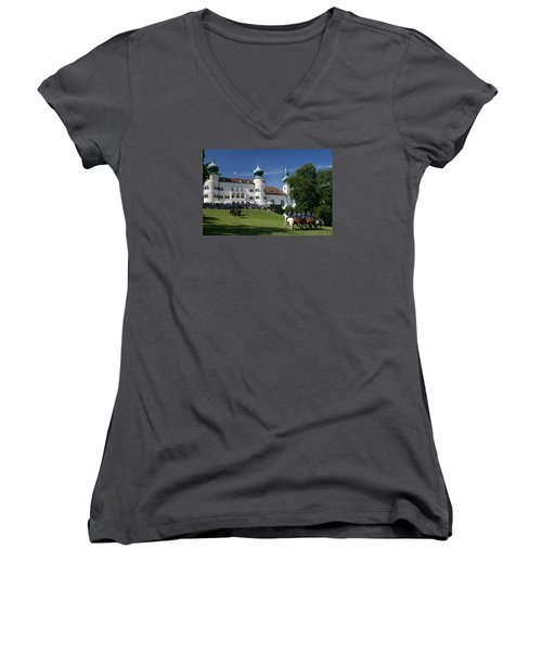 Women's V-Neck T-Shirt (Junior Cut) featuring the photograph Artstetten Castle In June by Travel Pics