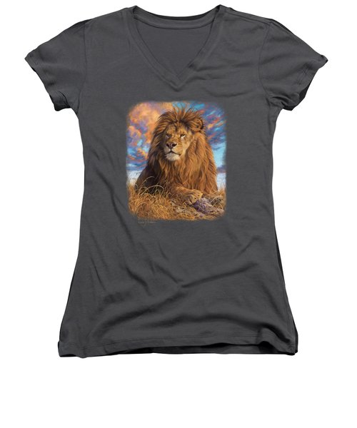 Watchful Eyes Women's V-Neck T-Shirt (Junior Cut) by Lucie Bilodeau