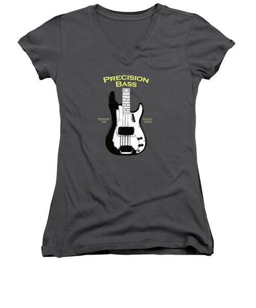 Fender Precision Bass 58 Women's V-Neck T-Shirt (Junior Cut) by Mark Rogan