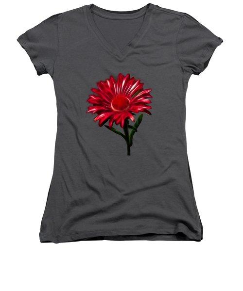 Red Daisy Women's V-Neck T-Shirt (Junior Cut) by Shane Bechler