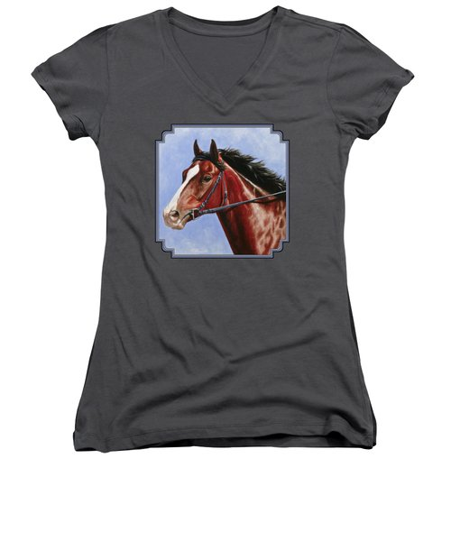 Horse Painting - Determination Women's V-Neck (Athletic Fit)