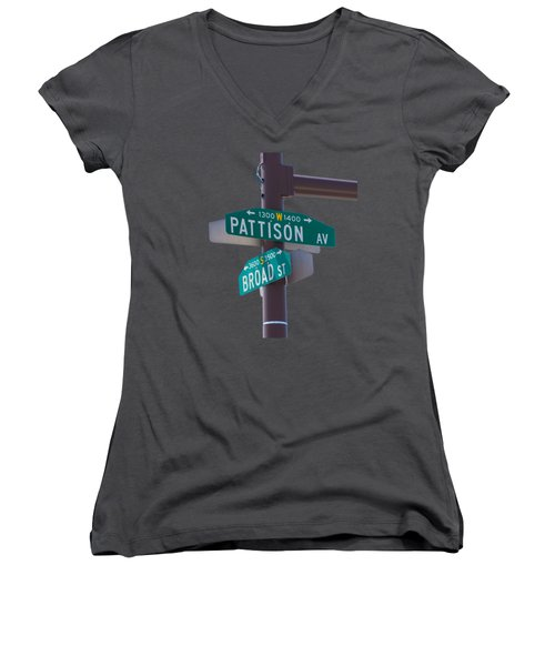 Broad And Pattison Where Philly Sports Happen Women's V-Neck T-Shirt