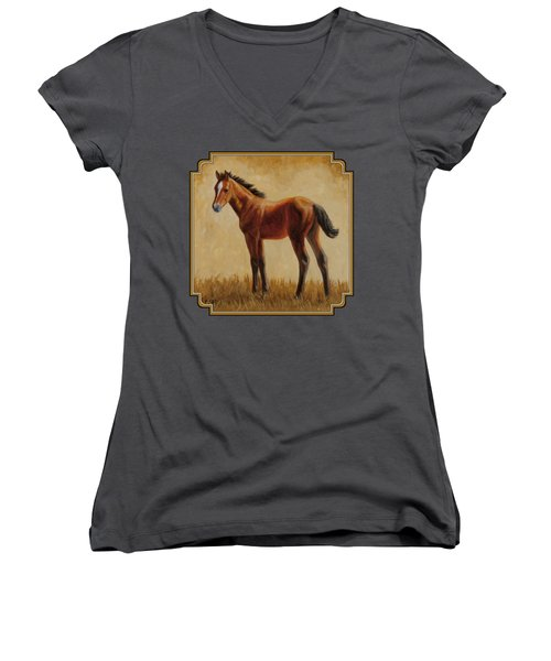 Afternoon Glow Women's V-Neck T-Shirt (Junior Cut) by Crista Forest