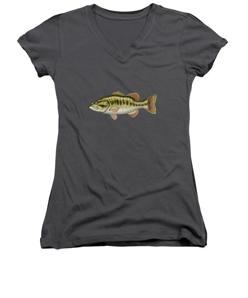 Largemouth Bass On Red Leather Women's V-Neck T-Shirt (Junior Cut) by Serge Averbukh