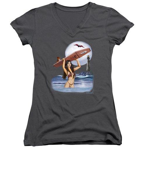 Little Surfer Ghoul Women's V-Neck (Athletic Fit)