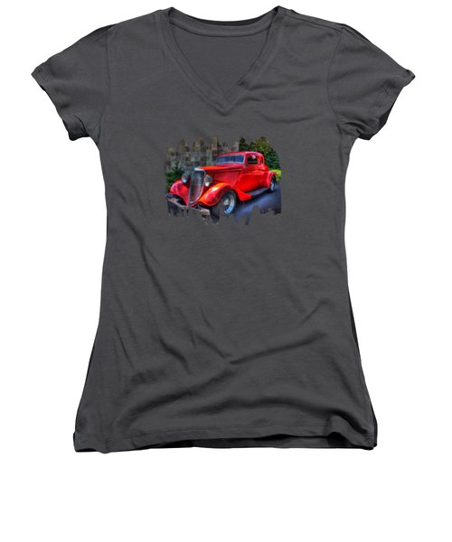 1934 Red Ford Coupe Women's V-Neck