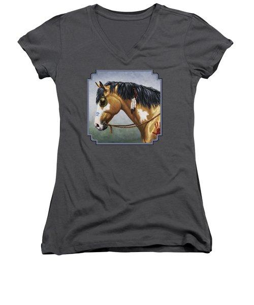 Buckskin Native American War Horse Women's V-Neck (Athletic Fit)