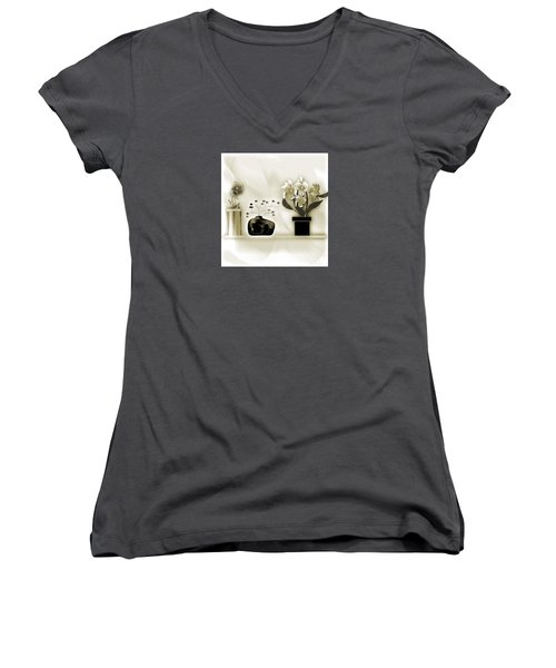 Vase 3 Women's V-Neck T-Shirt (Junior Cut) by Iris Gelbart