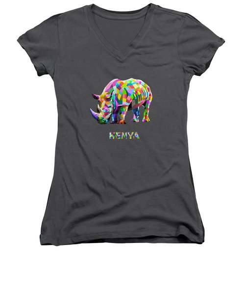 Women's V-Neck T-Shirt (Junior Cut) featuring the painting Wild Rainbow by Anthony Mwangi