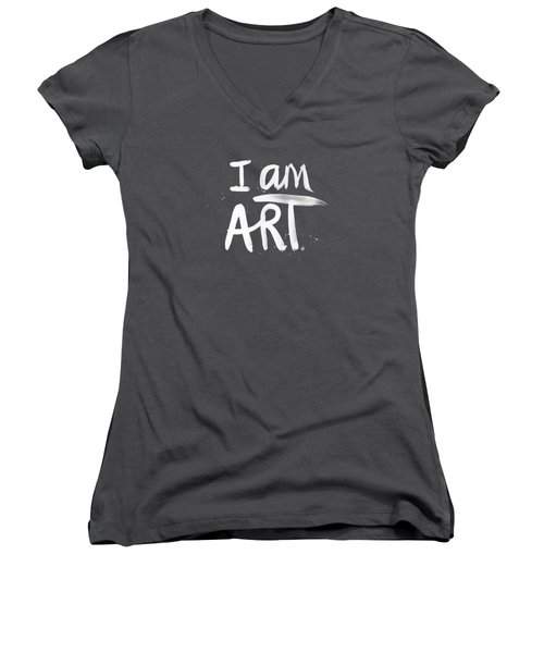 Women's V-Neck T-Shirt (Junior Cut) featuring the mixed media I Am Art- Painted by Linda Woods