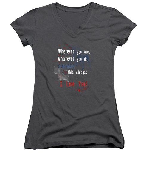 Women's V-Neck T-Shirt (Junior Cut) featuring the digital art Wherever You Are by Jutta Maria Pusl