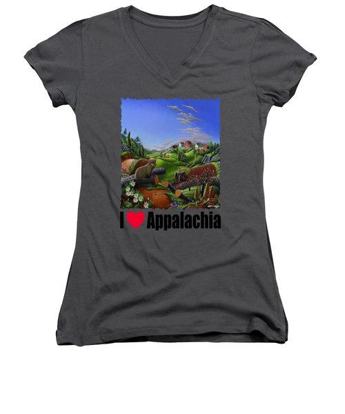 I Love Appalachia - Spring Groundhog Women's V-Neck T-Shirt