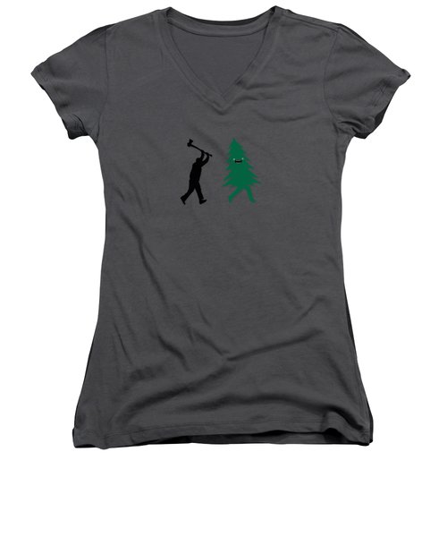 Funny Cartoon Christmas Tree Is Chased By Lumberjack Run Forrest Run Women's V-Neck T-Shirt (Junior Cut)