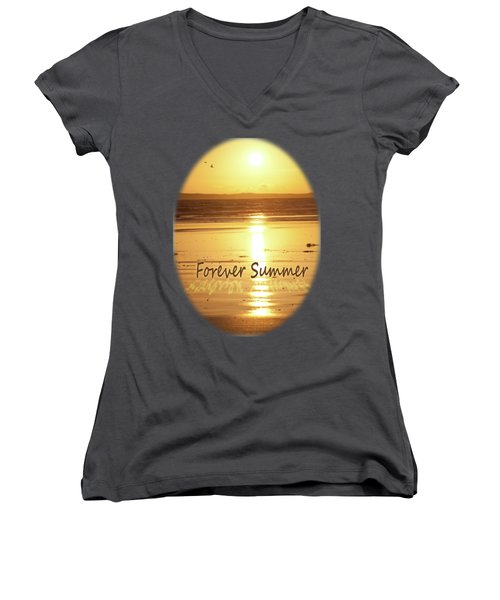 Women's V-Neck T-Shirt (Junior Cut) featuring the photograph Forever Summer 4 by Linda Lees