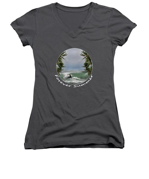 Women's V-Neck T-Shirt (Junior Cut) featuring the photograph Forever Summer 2 by Linda Lees