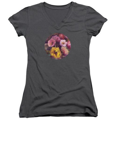 Abundance- Floral Painting Women's V-Neck T-Shirt (Junior Cut) by Mary Wolf