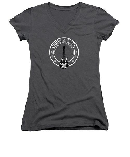 Epiphone Union Jack Women's V-Neck T-Shirt (Junior Cut) by Mark Rogan