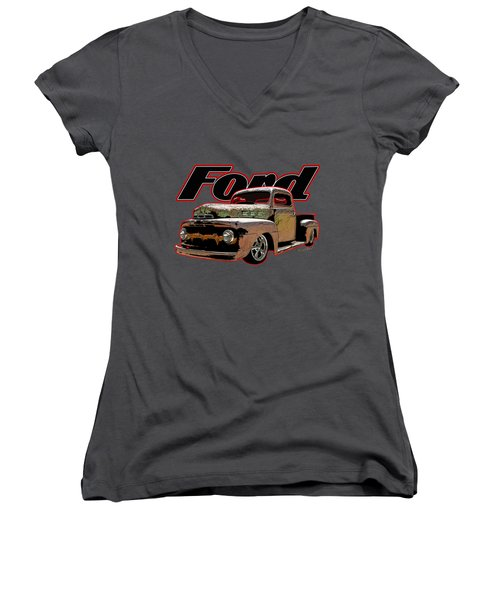 Beach Rat Rod Pickup Working On Its Patina Women's V-Neck