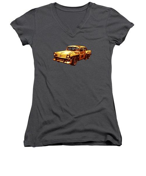 Roadrunner The Snake And The 56 Chevy Rat Rod Women's V-Neck T-Shirt