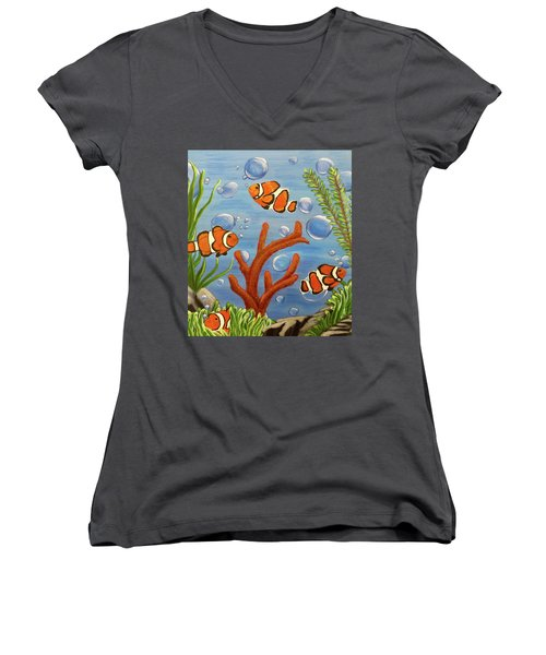 Women's V-Neck T-Shirt (Junior Cut) featuring the painting Clowning Around by Teresa Wing