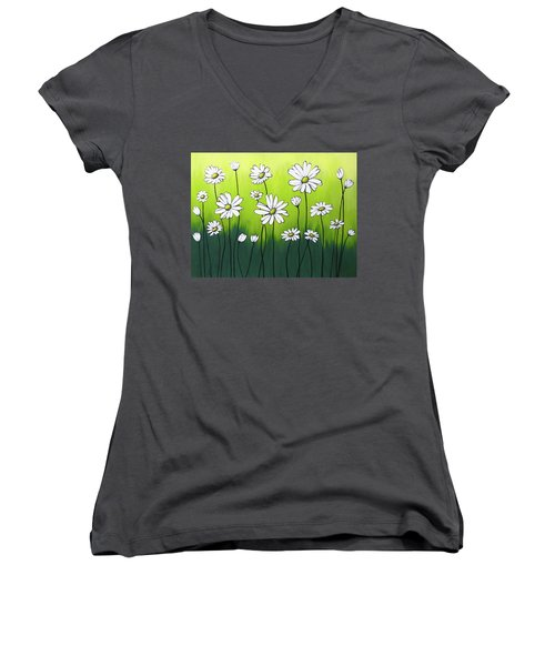 Women's V-Neck T-Shirt (Junior Cut) featuring the painting Daisy Crazy by Teresa Wing