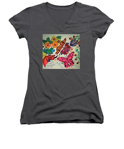 Eyes Of The Butterflies Women's V-Neck T-Shirt