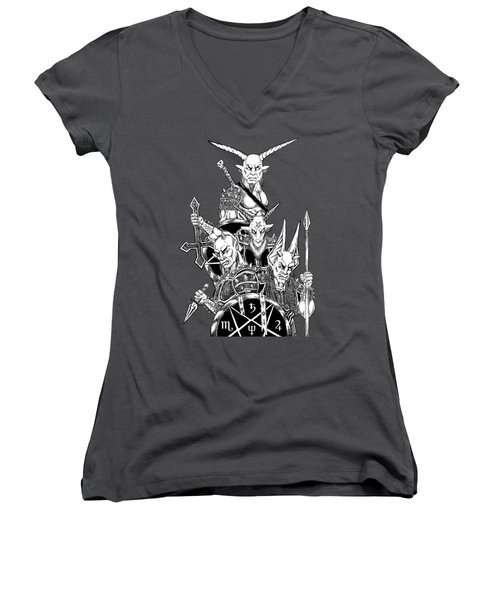 The Infernal Army White Version Women's V-Neck T-Shirt (Junior Cut) by Alaric Barca