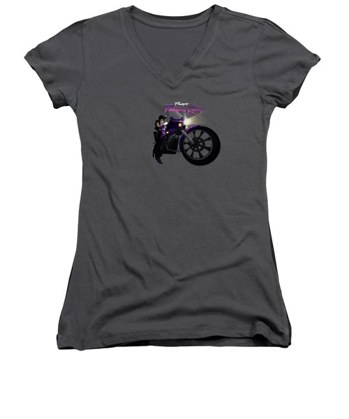 Women's V-Neck T-Shirt (Junior Cut) featuring the digital art I Grew Up With Purplerain by Nelson dedos Garcia