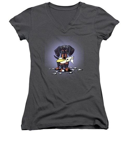 Dapple Doxie Destroyer Women's V-Neck T-Shirt
