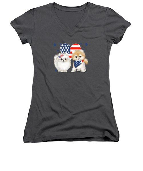 Patriotic Pomeranians Women's V-Neck T-Shirt