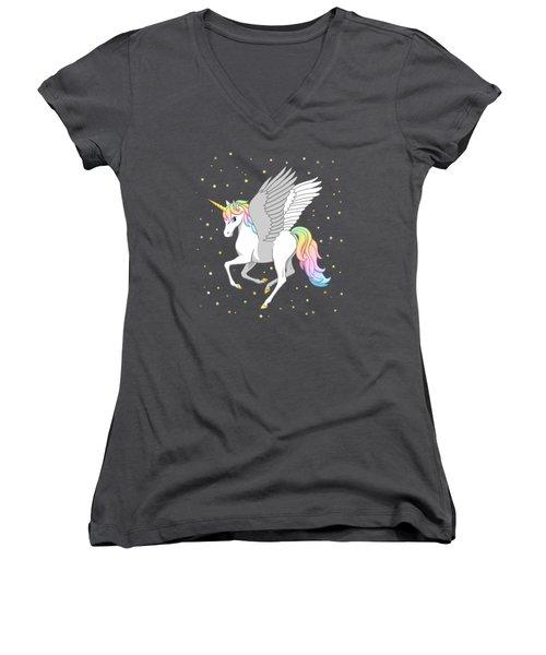 Pretty Rainbow Unicorn Flying Horse Women's V-Neck