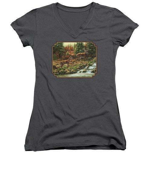 Whitetail Deer - Follow Me Women's V-Neck T-Shirt (Junior Cut) by Crista Forest