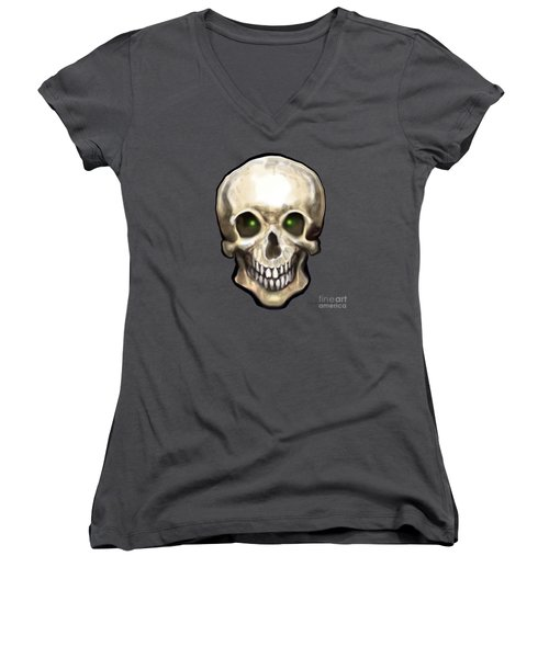 Women's V-Neck T-Shirt (Junior Cut) featuring the painting Skull by Kevin Middleton
